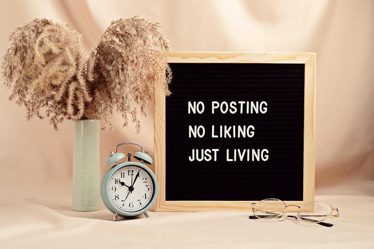 Плакат на английском. No posting, no liking, just living