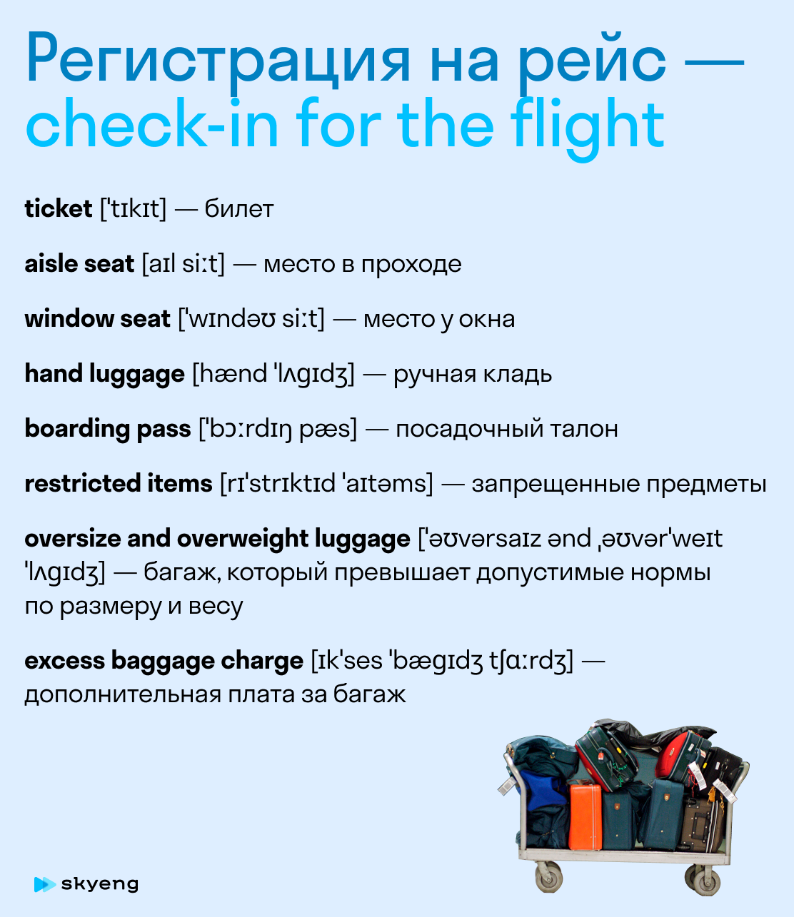 Базовые английские фразы для туристов. Карточка Skyeng Magazine