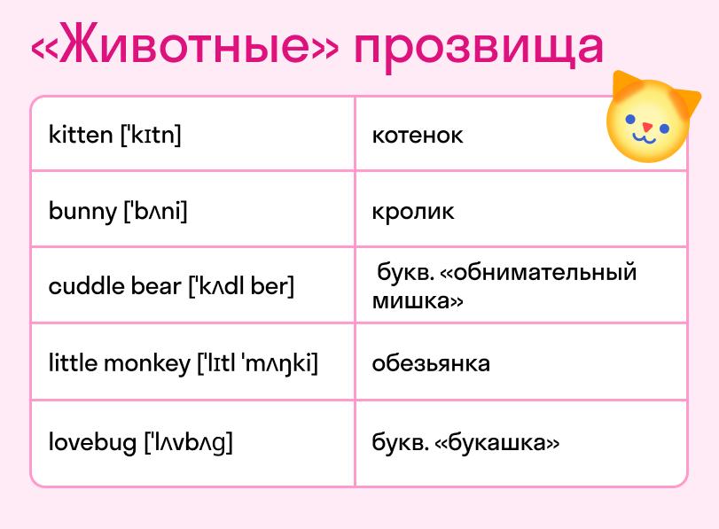 Животные ласковые слова  на английском  с переводом. Карточка Skyeng Magazine